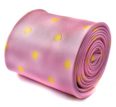 Frederick Thomas light baby pink and yellow polka spot tie