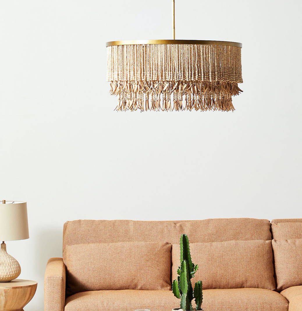Primary image for Anthropologie Sonora Chandelier Organic Coastal Modern Beaded Brass Round NEW