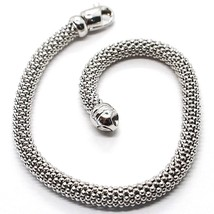 18K White Gold Bracelet, 18.5 Cm, 7.3 Inches, Basket Weave Tube, 5 Mm Thickness - $1,137.15