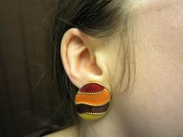 Vintage Oval Red Orange Yellow Enamel Fall Autumn Costume Clip-On Earrings - $14.50