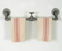 Farmhouse Set of 2 INDUSTRIAL TOWEL RACK with VALVE Country Rustic Primi... - $60.99