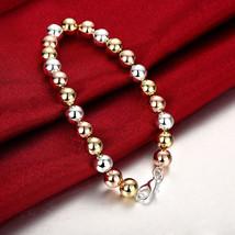 "Womens 925 Sterling Silver Tri Color Rings 8"" Bracelet - $12.73"