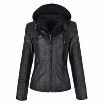 Women Biker Detachable Zipper Hoodie Slim Fit Motorcycle Genuine Leather Jacket image 3