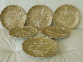 6 DOROTHY C. THORPE MID CENTURY POTTERY CHRYSANTHEMUM BREAD AND BUTTER P... - $119.00