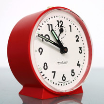 PETER Germany Alarm TOP! Mantel Clock Red / White Mid Century Vintage Sp... - $59.00