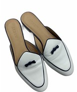 J Crew Piped Loafer Mules Bow Flats Slides Shoes White Black Size 7 Styl... - $45.99