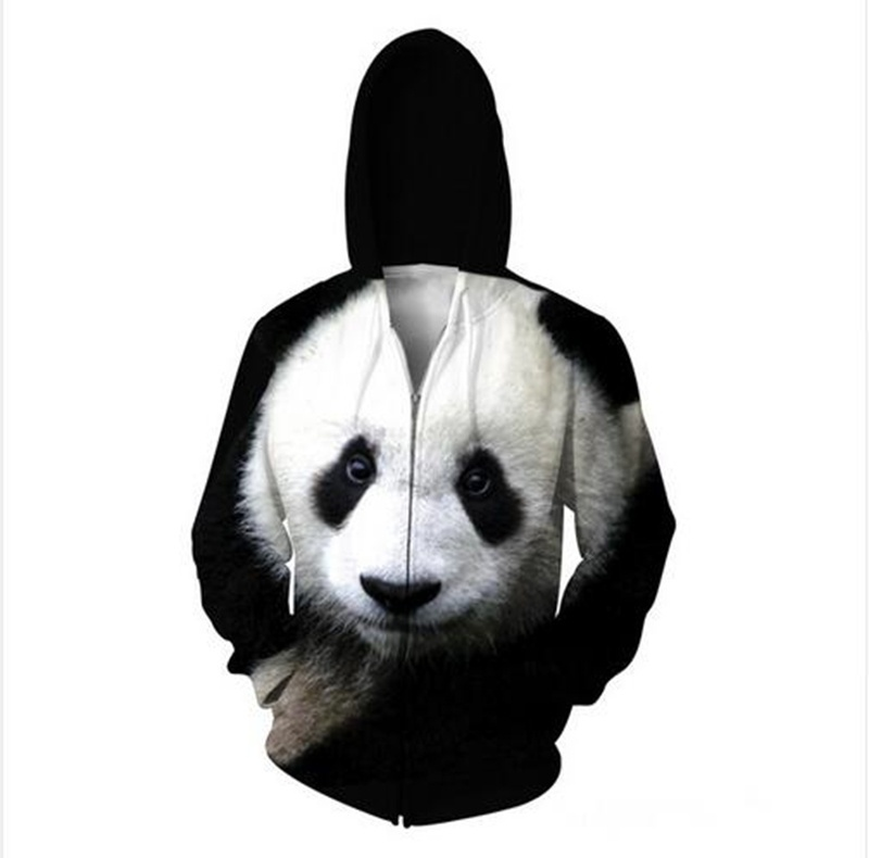 2018 Panda Zip-Up Hoodie The Giant Panda Animal 3D Sweatshirts Women Men Sport T