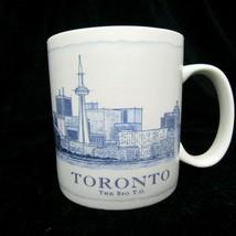 Starbucks 2008 White Blue 18 Oz Oversized Coffee Mug Toronto The Big T.O. - $18.28