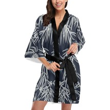 Black Bamboo Short Kimono Robe Bridal Bridesmaid Wedding - $59.00