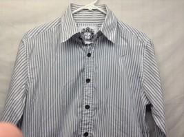 Men's Level Ten White w Gray Vertical Stripes Long Sleeve Shirt Sz M image 2