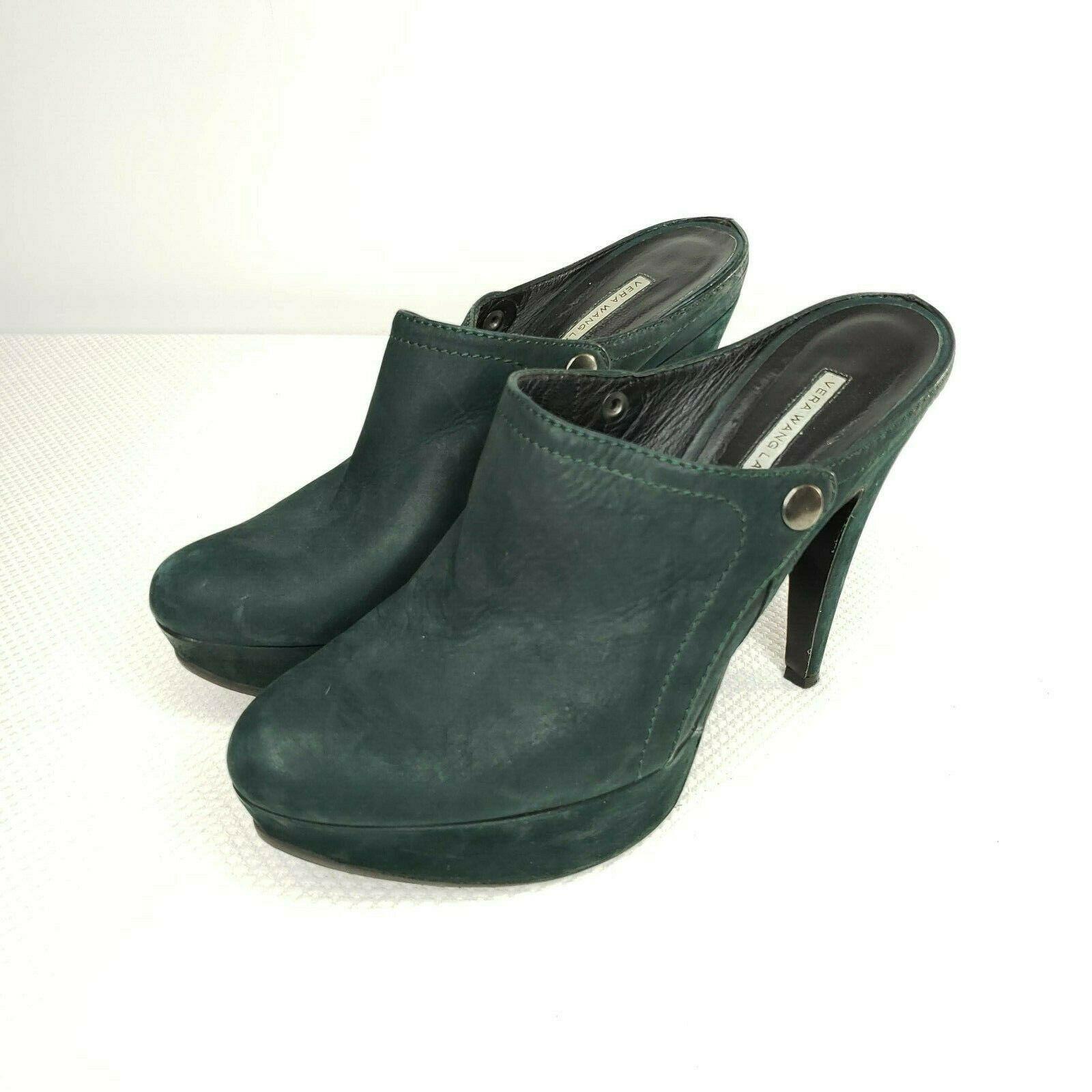 Vera Wang Lavender Collection Platform Dk Green Suede Mules Platform 9.5 Heels - $98.95