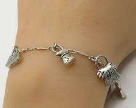 925 Silver Vintage Multiple Positive Emotions Fashion Bag Charm Bracelet B2085 - $66.77