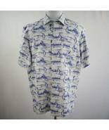 Nautica Classic Fit Blue White Fish Print Button Front Camp Shirt Mens Sz L - $33.77