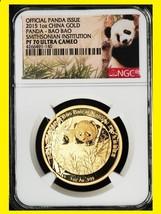 2015 China 1 oz Gold Smithsonian Panda NGC PF70 SUPERB VERY RARE LOW MINT - $1,999.91