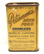 Antique 1920s Wm. Peterman Moth Food Poison Lithograph Tin Can 2 oz. 3.5... - $26.17