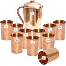 Dungri Pure Copper Jug & 10 Copper Glass for Health Benefits, Gift Idea ... - $89.07