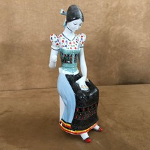 Hollohaza Hungarian Porcelain Figurine of Peasant Woman Sewing Kezzel Fe... - $72.50