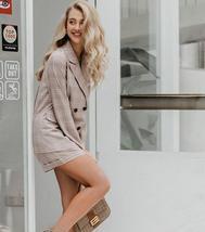 Women Famous Brand 2 Piece Double Breasted Plaid Blazer Shorts Suit image 2