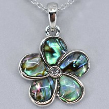 A.T. Storrs Wild Pearle Abalone Shell Forget Me Not Flower Pendant & SNecklace image 2