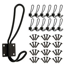 BBTO 12 Pieces Black Big Wall Mounted Rustic Hook Robe Hooks Double Coat Hangers