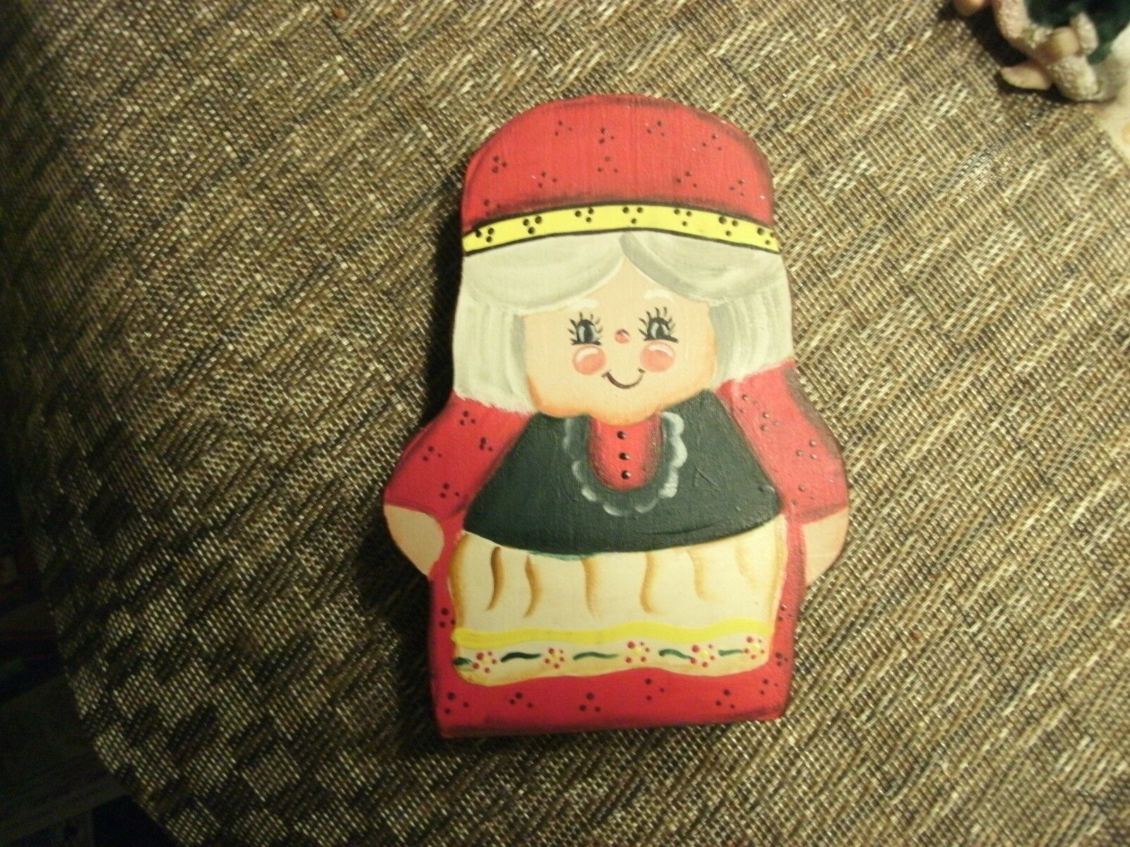 "Primary image for 20#8   Adorable Collectible Hand painted 6"" Wooden Mrs. Santa Claus Figurine"