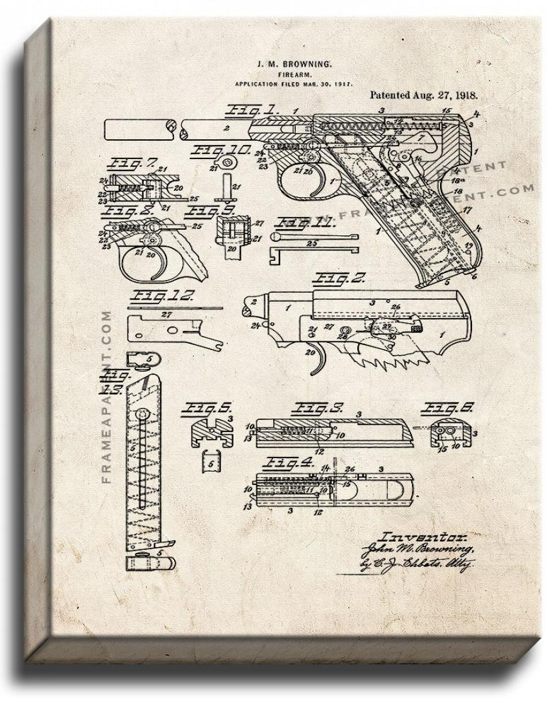 Primary image for Colt Woodsman Firearm Patent Print Old Look on Canvas