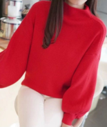 [Clothing] Woman Christmas Red Simple Batwing Sleeves Jumper Sweater/Swe... - $24.99