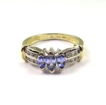 10k Two Tone Gold Women's Cocktail Ring With Diamonds & Marquise Shape A... - $508.68
