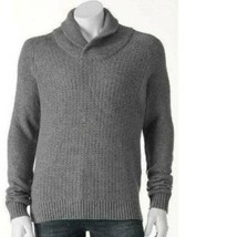 Mens Sweater Marc Anthony Gray Shawl Cable Knit Wool Blend Slim $85-sz XL - $44.55