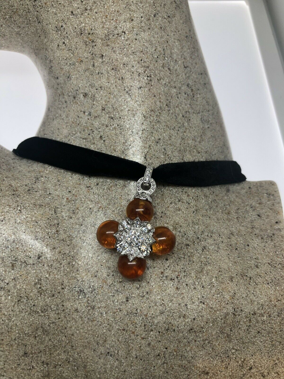 vintage Baltic Amber Cross Choker 925 Sterling Silver Necklace