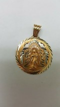 Estate Vintage 14k Solid Yellow & White Gold Ornate Mary Face Pendant - $558.09