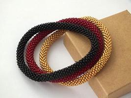 Beaded Crochet Bracelets Triple Set Black Red Gold Stackable Bangle Wris... - $17.00+