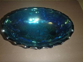 12 x 8 VINTAGE IRIDESCENT BLUE INDIANA CARNIVAL OVAL FOOTED GLASS FRUIT ... - $37.39