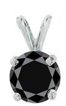 9MM STYLISH 14K WHITE GOLD ROUND BLACK SAPPHIRE PENDANT  - $89.09