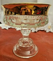 Indiana Glass Kings Crown Compote Candy Dish Gold Rimmed Flashing Thumbprint image 1