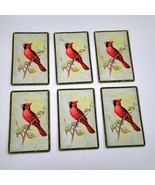 6 Cardinal Playing Cards for Crafting, Re-purpose, Up-cycle, Vintage Sup... - $2.25