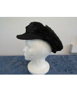 Vtg Wool Leather Fisherman Style Cap Ear Flaps  - $34.66