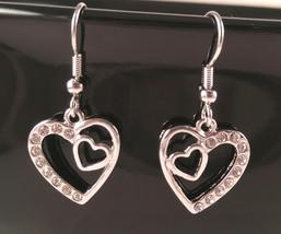 Double Heart Dangle Earrings - $16.00