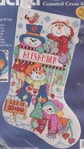 Bucilla Let it Snow Snowman Christmas Holiday Cross Stitch Stocking Kit 83682 - $44.95
