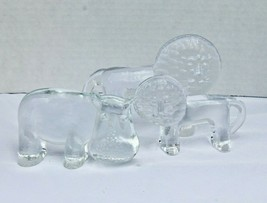 Lot of 3 Kosta Boda Glass Sweden Zoo Lot Hippo Lion Mid Century Vintage - $75.00