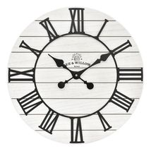Bee & Willow Home Rustic Wood 18-Inch Wall Clock in White - $35.80