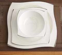 Creative Hand-painted Bone Square Dinner Plates Ceramic Tableware Soup B... - $74.04
