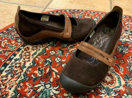 Merrell Plaza Bandeau Espresso Brown Suede Leather 8 Mary Jane Low Wedge Mocs Ln - $25.16