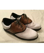 ARNOLD PALMER TROPHY Mens 10.5 Oxford Lace Up Soft Spke Golf Shoes White... - $19.79