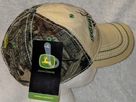 John Deere LP64489 Tan And Mossy Oak Camo Adjustable Baseball Cap image 2