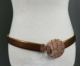 Chicos Belt Bronze Genuine Leather M L Slide adjustable Brown Buckle Womens - $22.97