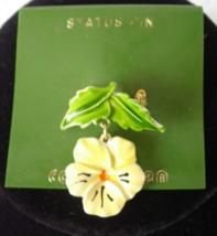 CONTEMPRA Status Enamel Pin Brooch - Yellow Flower Dangle with Green Lea... - $7.00