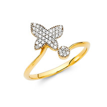14K Solid Gold Brilliant Butterfly Cubic Zirconia Fancy Ring - $208.00