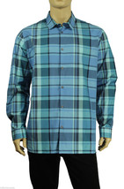 NEW MENS ALFANI RED SLIM FIT BLUE PLAID BUTTON FRONT COTTON SHIRT $55 - $15.99