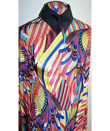 Bright Macaw Parrot Feathers Print Polyester Lycra Stretch ITY Fabric 1 ... - $36.00